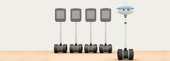 Telepresence robots in a line